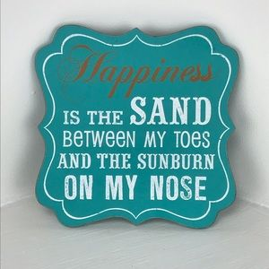 Other - Wooden Ocean Blue & White 'Happiness is...' sign